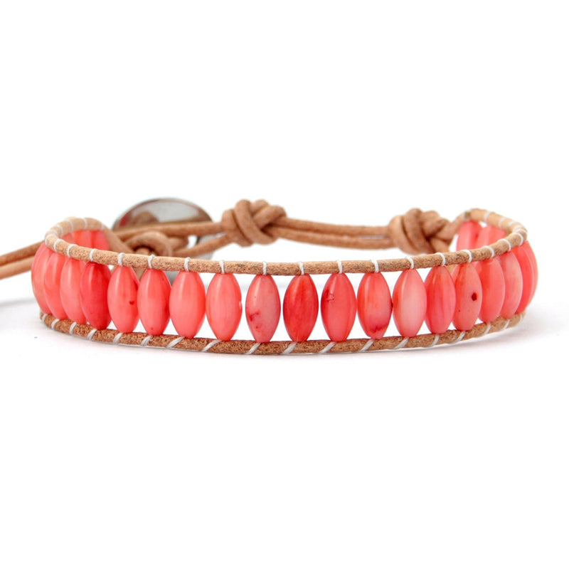 Natural Rice Shape Coral Stone Leather Bracelet Fashionable Leather Wrap Bracelet Coral Jewelry Wedding Gift