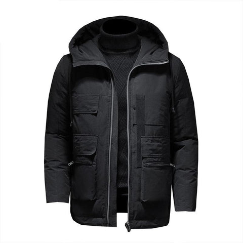New Winter Hooded Down Parka Coat Men Canada Goose Jacket Clothing Mid Length Warm Casual Black Overcoat Clothes Outerwear