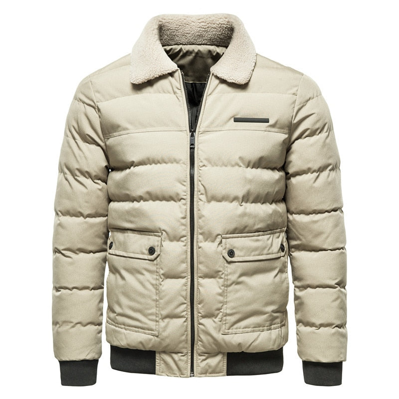 Parkas Men Winter Jacket New Turn Down Fur Collar Padded Warm Mens Winter Jackets And Coats Casual Outwear Thicken Jacket