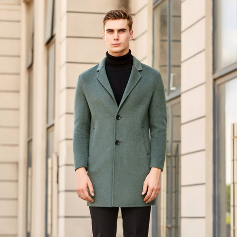 Autumn Winter New Men's Casual Solid Color Cashmere Coat Business Slim Fit Long Overcoat Jacket Male Brand Clothes