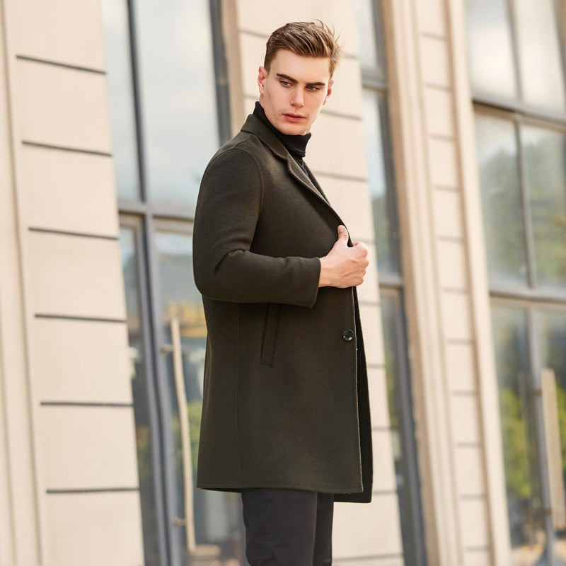 Autumn Winter Brand Men's Clothing New Cashmere Coat High Quality ArmyGreen Business Casual Long Woolen Jacket Male M-3XL
