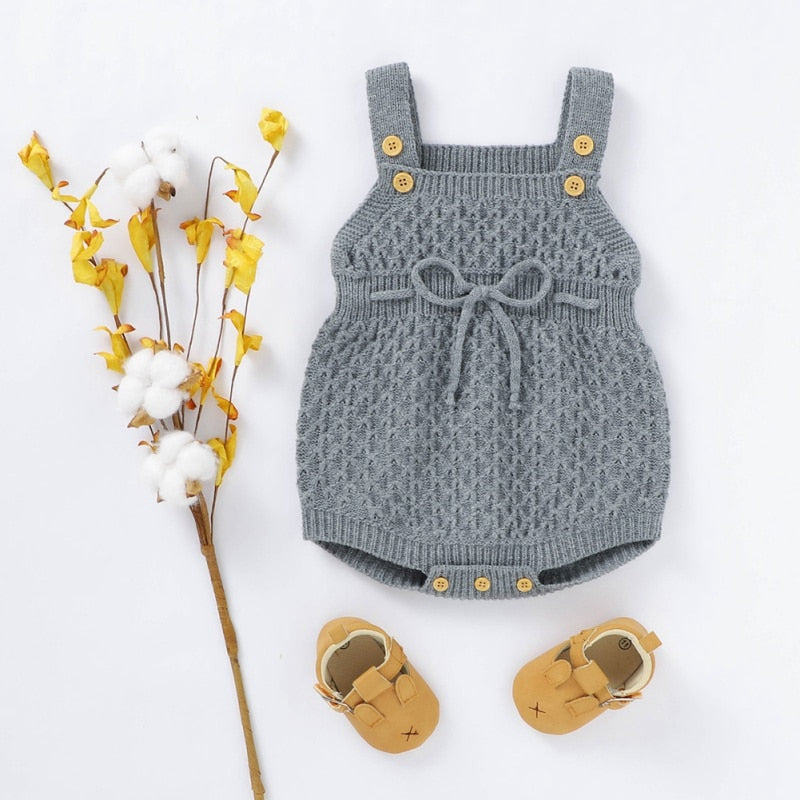Knitted Baby Girls Autumn Romper Infant Sleeveless Knitted Wool Solid Print Rompers Kids Jumpsuit