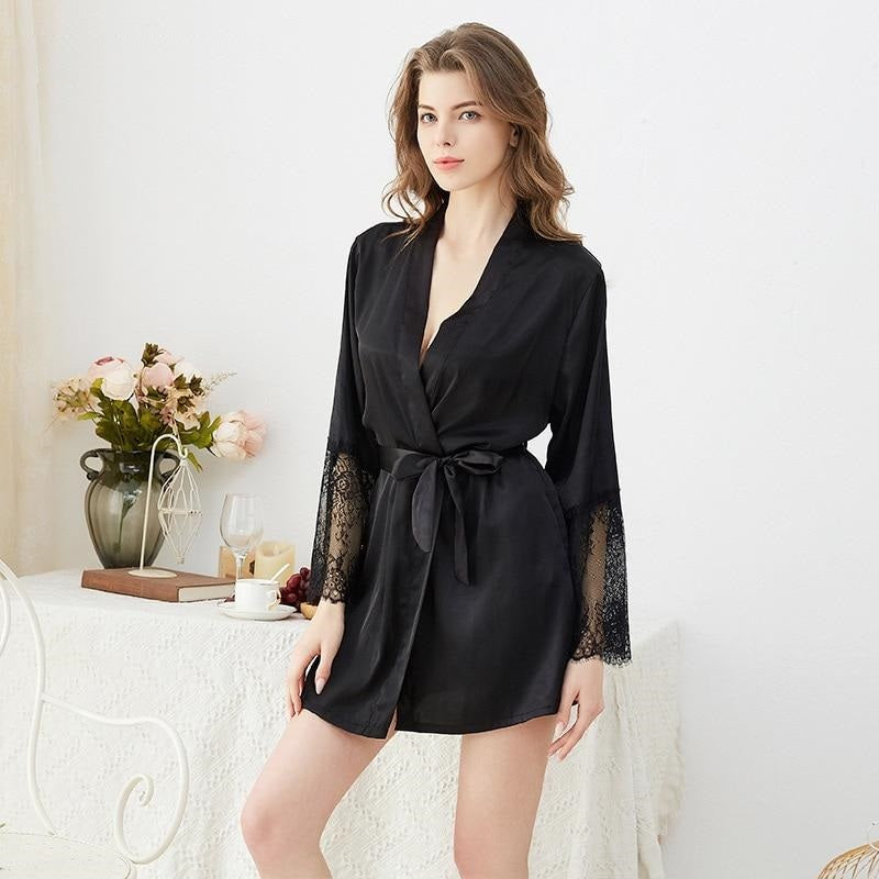 Women Faux Silk Sleep Dress Sexy Pajamas Thin Summer Nightwear Soft Lace Elegant Ladies Homewear Pajamas Female