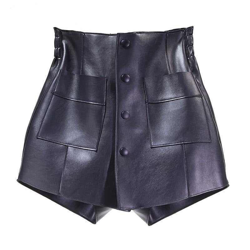 Women Shorts Fashionable Wide Leg PU Black Shorts Loose Leisure High Waisted PU Leather Shorts Spring New