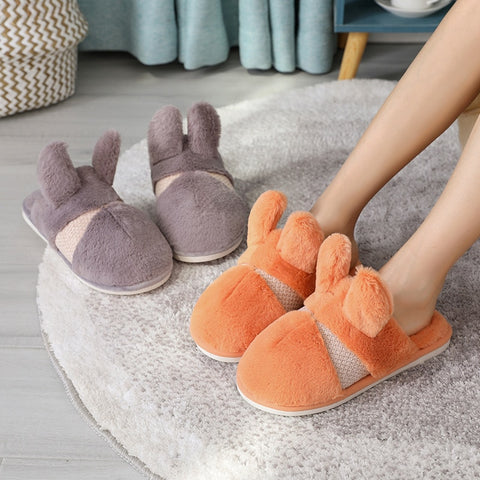 New Home Plush Slippers Soft Warm Faux Rabbit Fur Women Men Slippers Flat Flatform Slides Female Winter Flip Flops