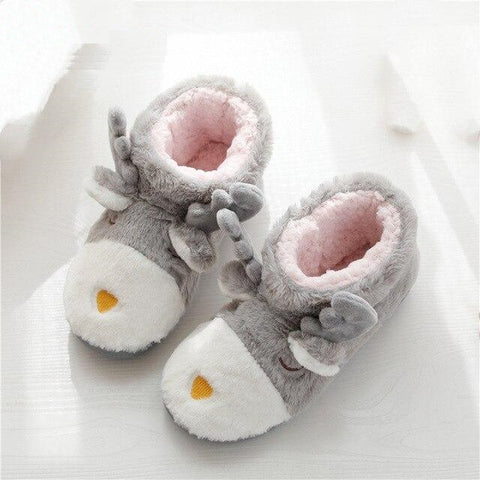 New Cartoon Plush Slippers Women Winter Warm Cotton Padded Shoes Thick Fleece Indoor Floor Shoes Lady Casual Flats