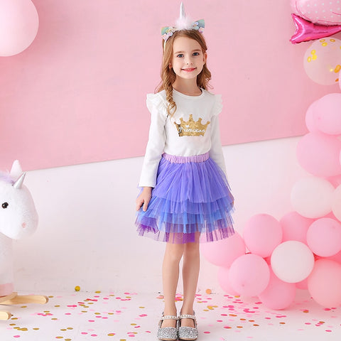 Skirt for Girls Cake Tutu Skirts Dance Mini Skirt Princess Ball Gown Children Kids Clothes 5 Layers Tulle Skirts