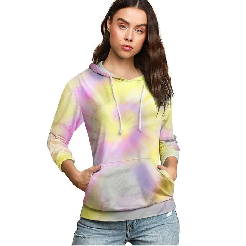 Nice-forever Autumn Chic multiple color tie-dyed Sweatshirt with Pocket Casual Women Loose Hoodies