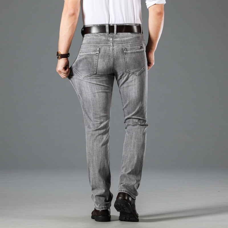 Autumn New Smoky Gray Advanced Stretch Men's Jeans Business Casual Cotton Regular Fit Denim Pants Male Brand Trousers