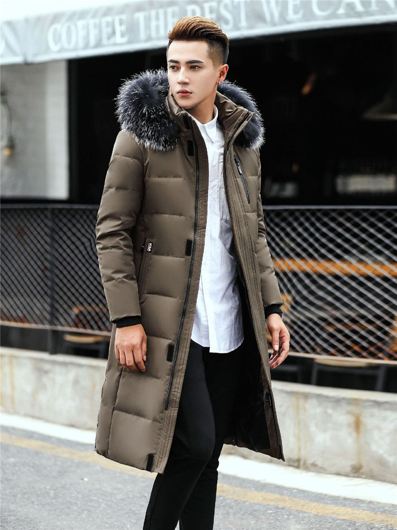 Winter New Men's Long Down Jacket Clothes Thicken Warm White Duck Down Hooded Fur Collar Casual Coat Male Clothing