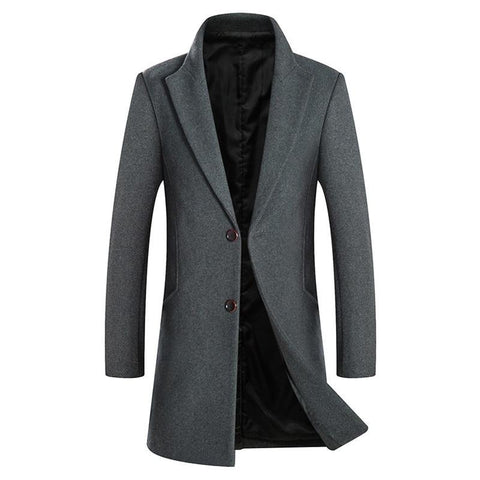 Autumn Winter New Men's Wool Coat Business Fashion Solid Color Slim Fit Thick Long Jacket Male Brand Red Wine Overcoat