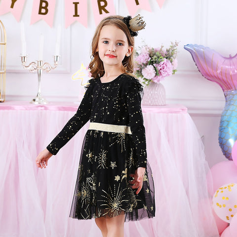 Kids Party Dress for Girl Children Sequined Dresses Girls Star Dress Toddlers Casual Dresses Children Autumn Costumes