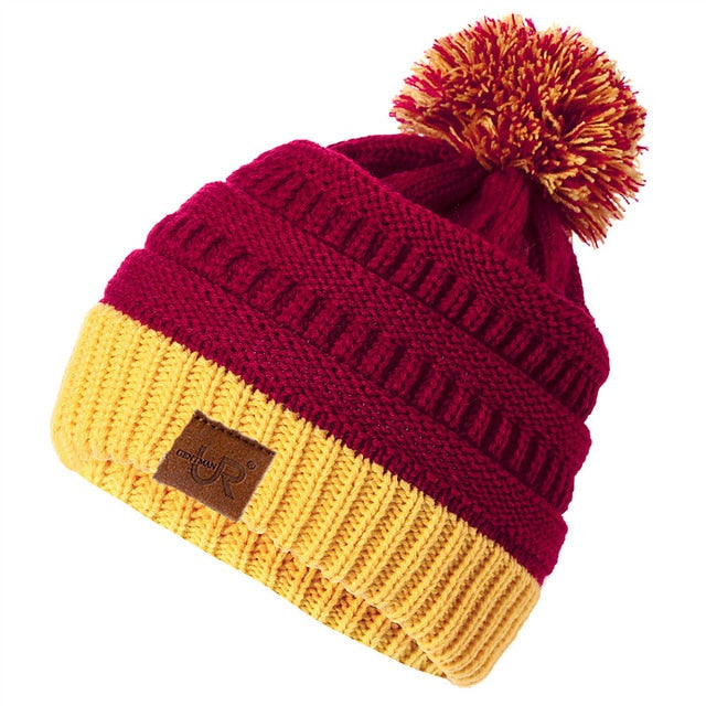 New Women's Winter Hat Slouchy Knitted Hats Two-color Knit Beanie Hat