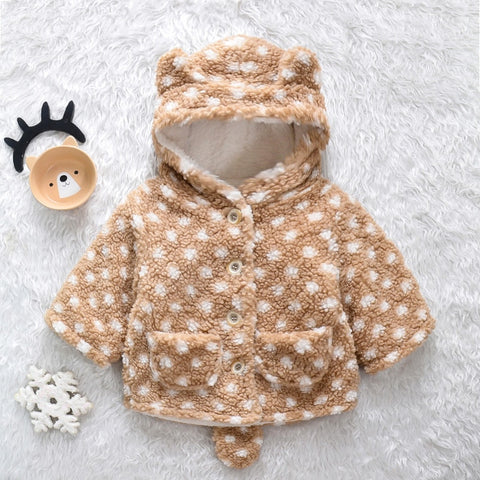 New Arrival Winter Baby Toddler Girl Polka dots Animal Design Fluff Hooded Coat Warm Baby Clothes