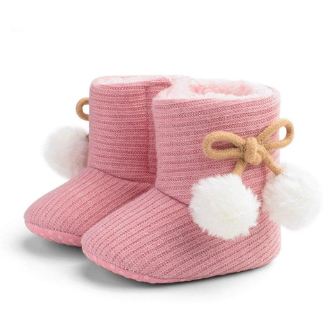 Baby Toddler Girl Knitted Bowknot Fluff Ball Prewalker Shoes Cotton Toddler Snow Boots for Baby Girl  Shoes