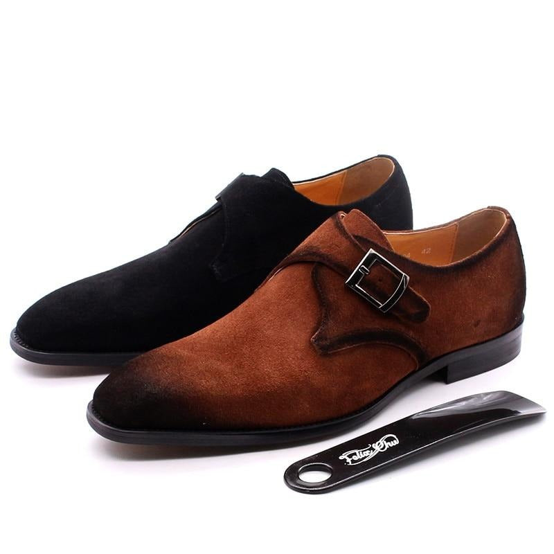 Autumn Suede Leather Men Shoes Oxford Brown Casual Classic Monk Buckle Strap Dress Shoes For Male Comfortable Footwear
