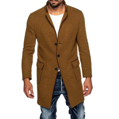 Autumn Winter Men Coats Faux Suede Long Sleeve Lapel Solid Color Single Breasted Trench Vintage Men Jackets Windbreaker
