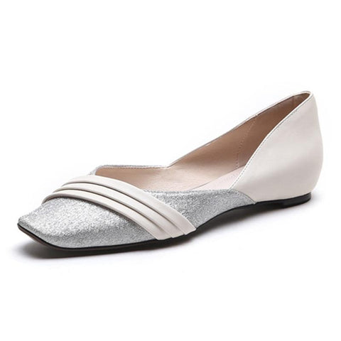 Women flats comfortable summer shallow ladies single shoes genuine leather sweet flat shoes