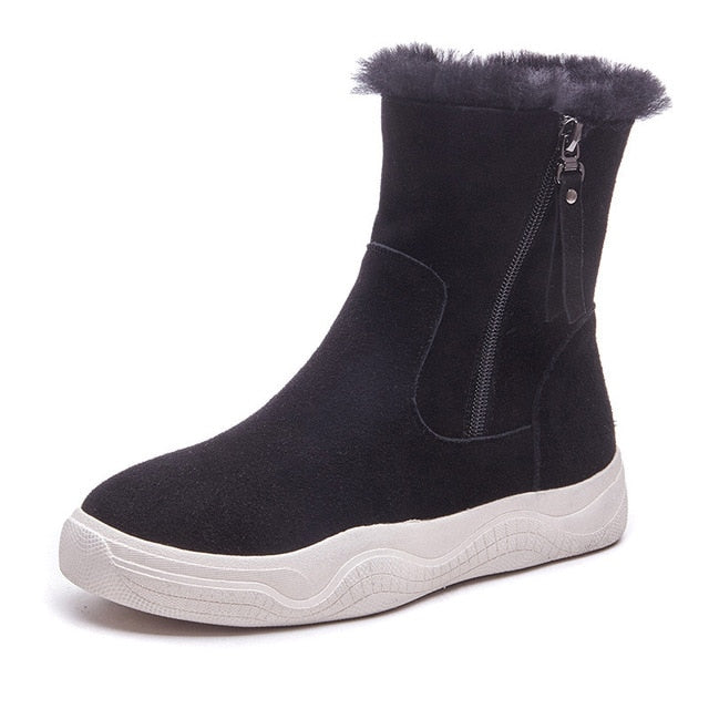 New hot sale winter snow boots round toe zipper comfortable ladies shoes 2 colors ankle boots women
