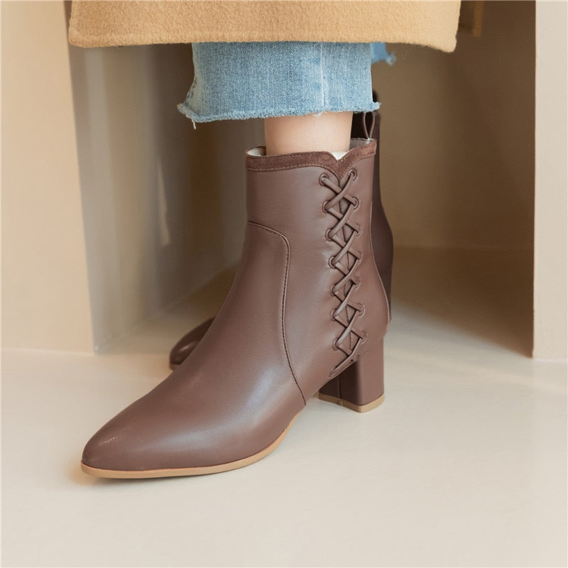 pu leather ankle boots high heels pointed toe ladies shoes winter simple women boots