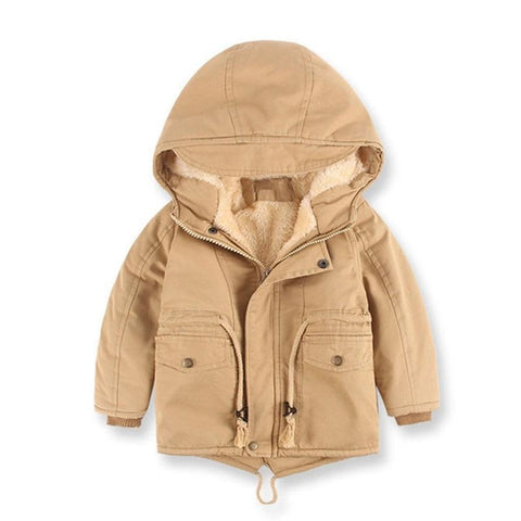 Children's Cotton Boys Jacket Plush Thick Winter Children's Clothing Jacket Solid Hooded Jacket Trench Coat Baby Boy Clothes