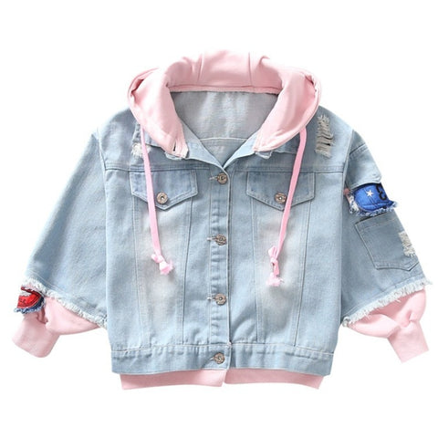 Girls Jackets Spring Sky Blue Denim Hooded Outerwear Autumn Button Patch Denim jacket Children Clothing