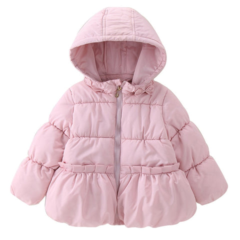 Winter Girls Warm Jacket For Girls Christmas Coat Baby Girls Jacket Solid Zipper Kids Hooded Outerwear Infant Girls Coat