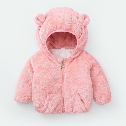 Infant Baby Plus Velvet Warm Jacket Winter Coat Solid Jacket Cotton Boy's Clothes Hooded Jacket Girl and Boy Cotton Coat