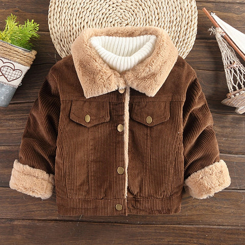 Winter Baby Boys Girls Coat Corduroy Button Children Outerwear Warm Thicken Kids Jackets Boy Clothing 1 2 3 4 5 6 Years