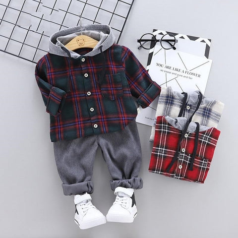 Autumn Newborn Baby Boys Clothes Plaid Infant Clothing For Baby Girl Clothes Set Hooded T-shirt+Pant Outfit Suit Baby Costume