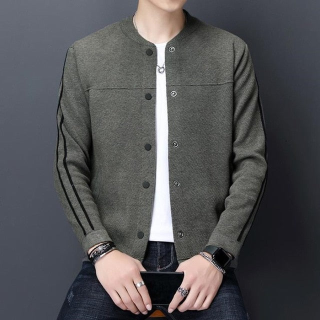New Knit Coat Cardigan Sweater Men's Knitted Slim Knitwear Outerwear Coats Men Woolen Sweaters Mens Male clothes