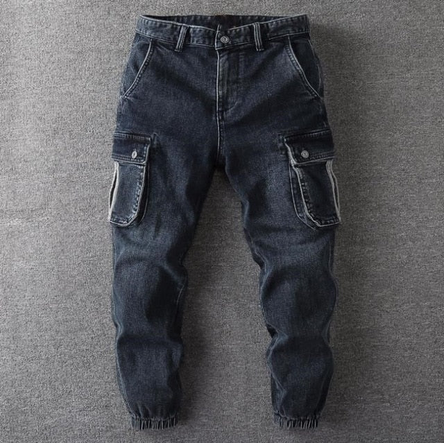 Autumn Jeans Casual Denim Pencil Pants Men's Baggy Multi-pocket Trousers Mens Men Male Bottoms Plus Size 38