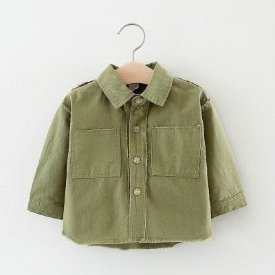Spring Boys Shirt Solid Color Casual Long Sleeves Tops for Girls Kids Clothes Newborn Baby Pocket Cardigan Child Clothing
