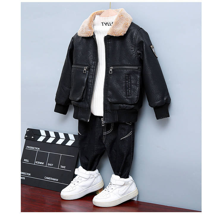 2 3 4 5 6 7 8 9 Years Boys Jackets Autumn Winter Thicken PU Leather Clothing Toddler Baby Coats Boys Winter Outerwear Leather