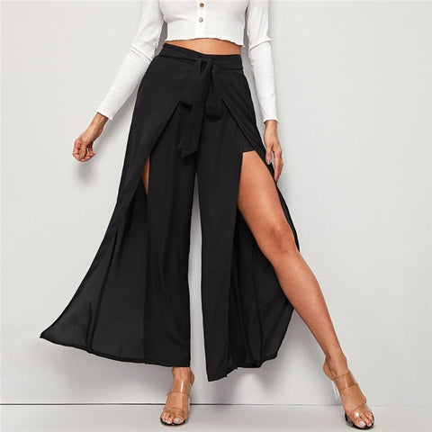 Black M-slit Thigh Belted Palazzo Pants Women Spring Zipper Fly High Waist Wide Leg Loose Long Boho Pants