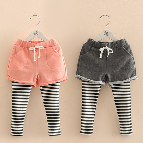 Spring Autumn 2 3 4 6 8 10 Year Children Pocket Shorts Baby Culottes Lace Skirt Striped Leggings For Baby Kids Girls