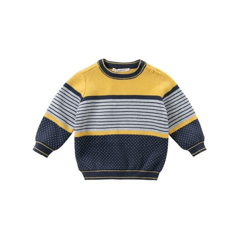 Winter casual baby boys Christmas striped dots patchwork knitted sweater kids toddler boutique tops