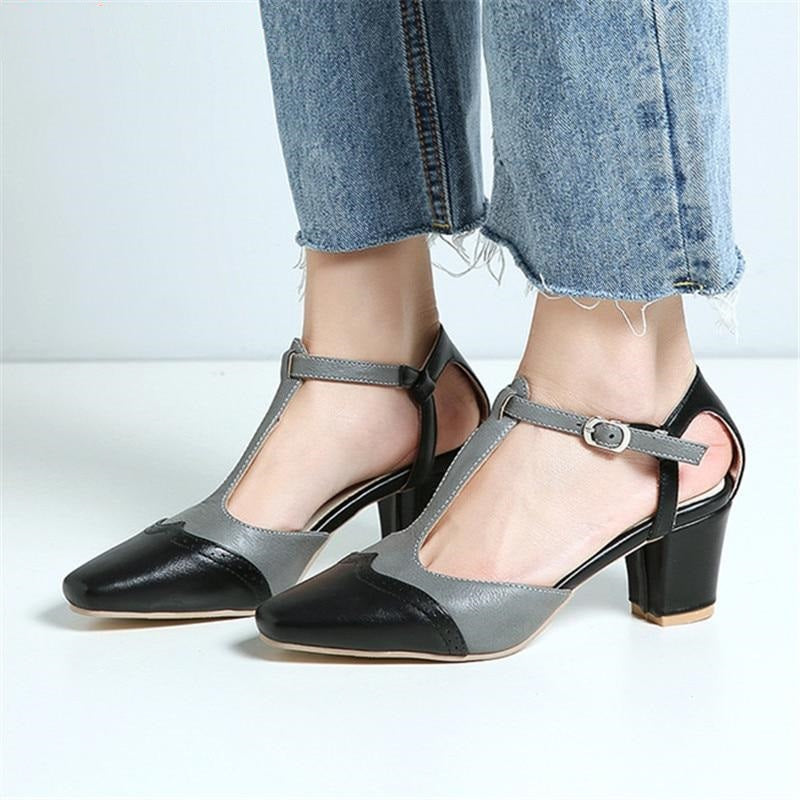 large size 34-46 summer new shoes women square toe buckle pumps women shoes elegant prom high heels shoes women