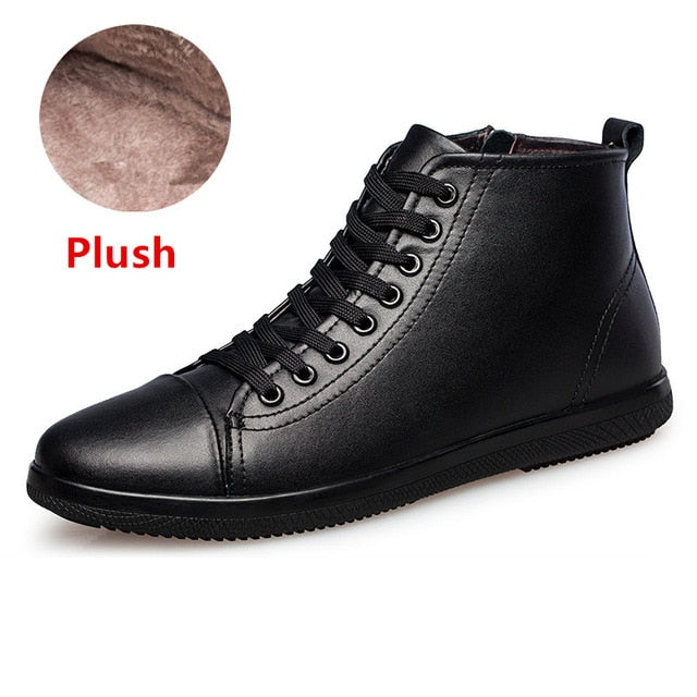 Winter Men Boots Warm Plush Men Snow Boots Outdoor Comfortable Men Shoes Lace-Up Autumn Men's Ankle Boots Motorcycle Boots