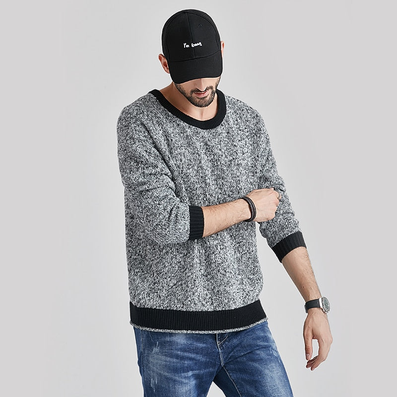 Men Autumn New Casual Thick Mixed Color O-Neck Sweater Pullovers Coat Men Fashion Outfit Cotton Warm Sweaters Men