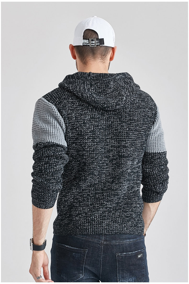 Men's Autumn Cotton Thick Hooded Sweater Pullovers Men Casual Hoodies Patchwork  Knitwear Sweater Coat Men