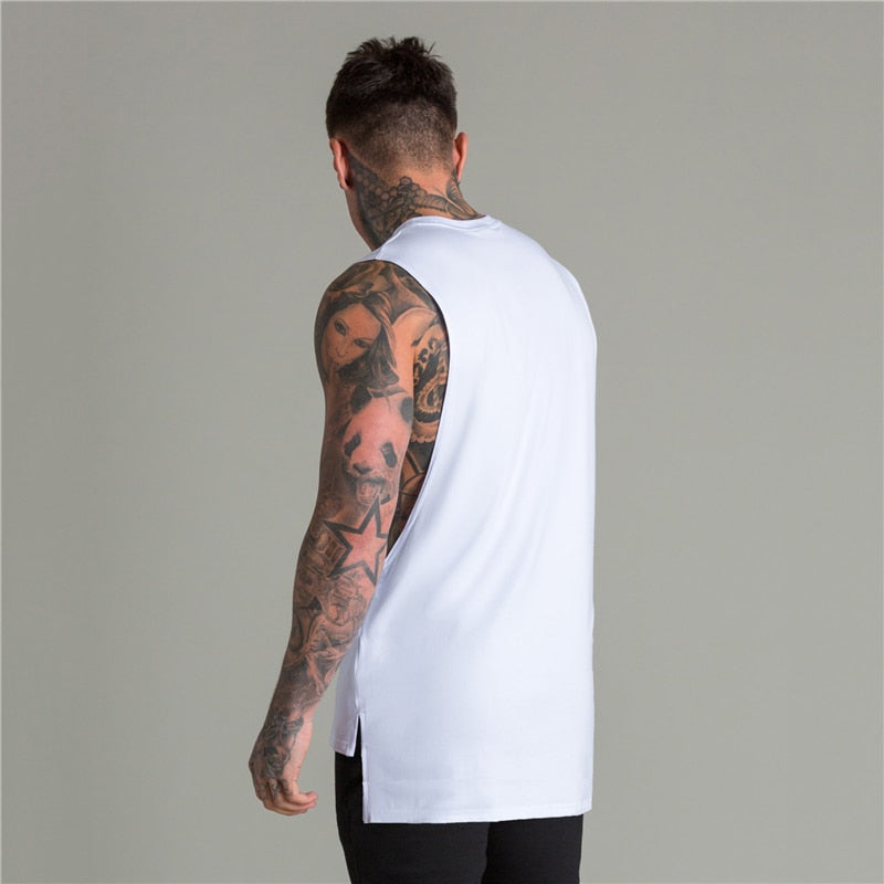 Extend Cut Off Gym Fitness Bodybuilding Tank Tops Men Fashion Hip Hop Workout Clothing Loose Open Side Sleeveless Shirts Vest