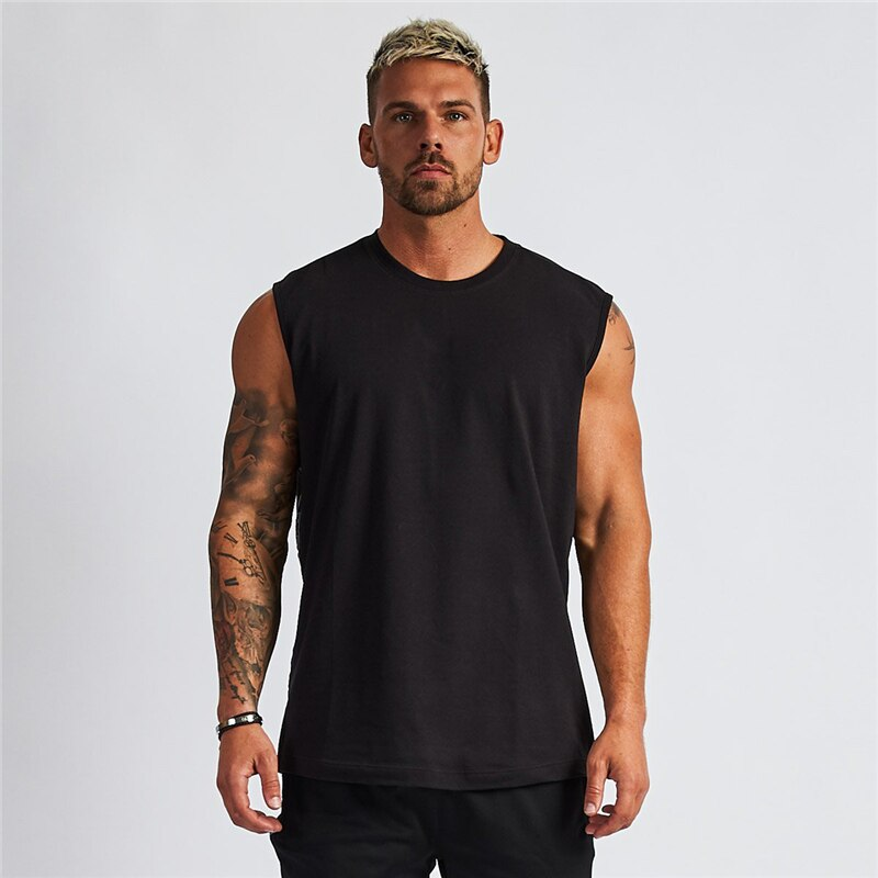 Compression Sleeveless Shirt Gym Clothing Fitness Mens Tank Top Cotton Bodybuilding Stringer Singlet Muscle Vest Workout Tanktop