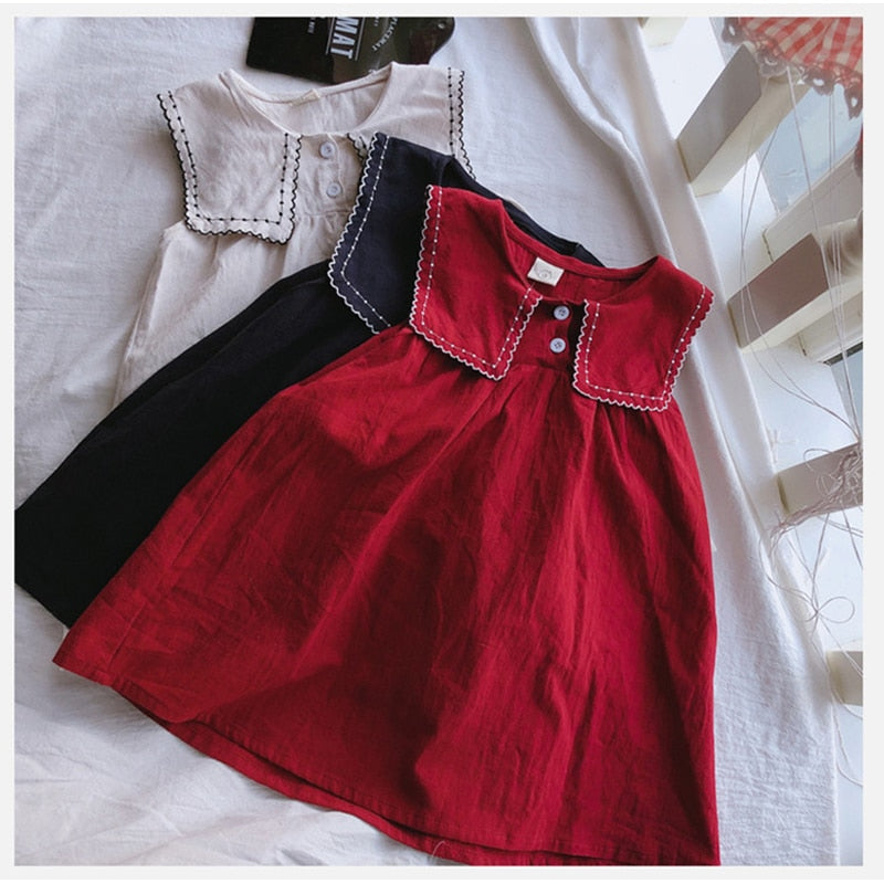 Summer Girl Dresses Cute Baby Girl Clothes Loose Princess Dress Sleeveless Casual Collar Baby Kids Dress