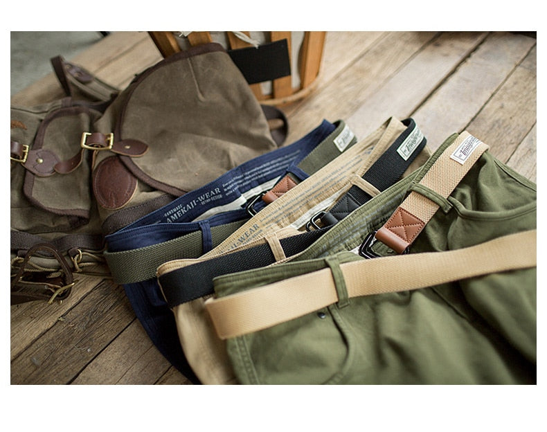 Men's Vintage Canvas Web Tactical Belt With Double D-Ring Black Khaki Green