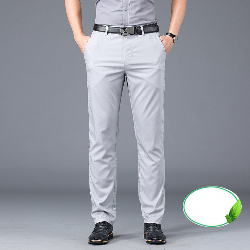 fiber soft and comfortable men's straight casual pants autumn brand clothing high-quality youth business trousers