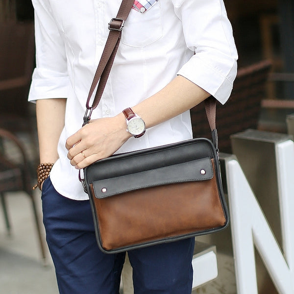 New Casual Crazy Horse PU Leather Men Bag Small Shoulder Bag Vintage Design Handmade Zipper Style Messenger Bag Handbags for Men