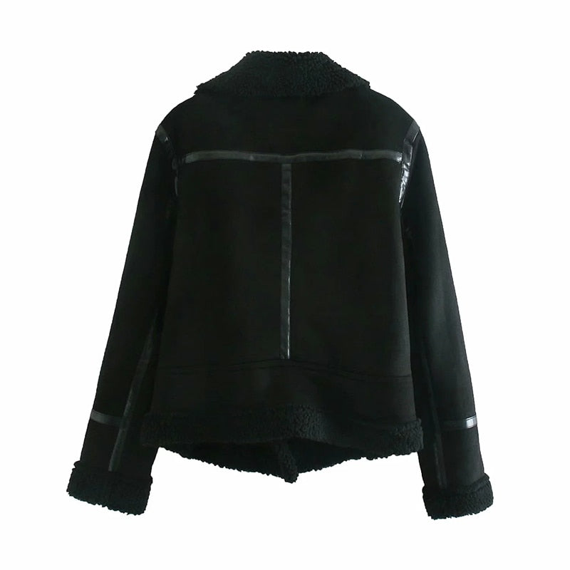 Women Faux Leather And Lamb Fur Jacket Coat Long Sleeve Thick Warm Coats With Belt Winter Outerwear