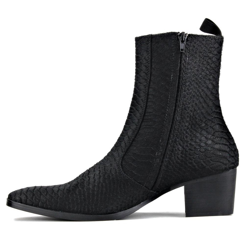 Men Chelsea Ankle Boots Genuine Horse Leather Crocodilian Print Horse Hair Boot with Side Zipper Heel Boots designer footwear