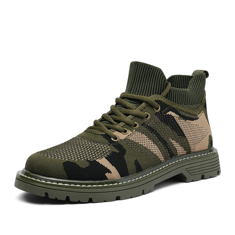 Men Casual Shoes Fashion Comfortable Flat Boots Men Lace-up Camouflage Shoes Winter Autumn Male Sneaker Hiking Sneakers